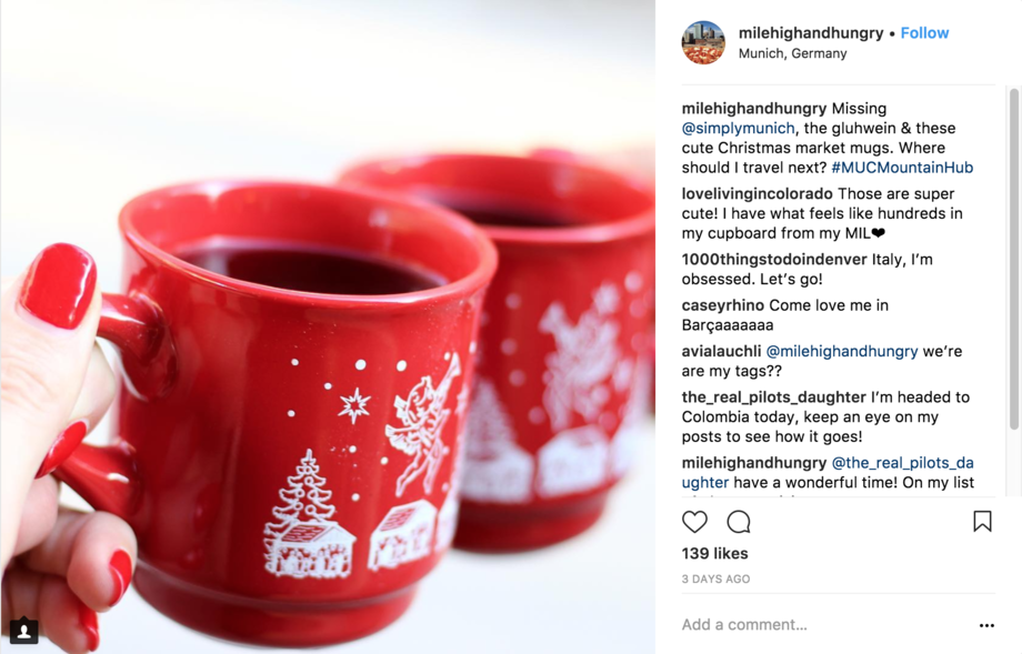 Bright red mugs with white winter scenery on them. Comments to the right.