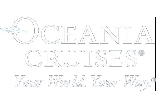 Oceania Cruises white logo.