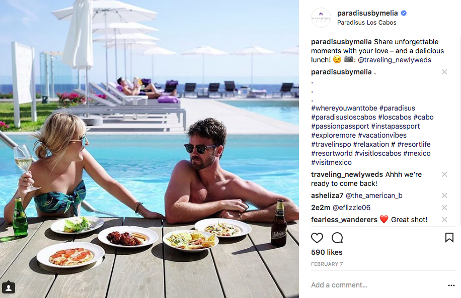 Couple enjoying a poolside lunch. Comments by paradisus on the right.