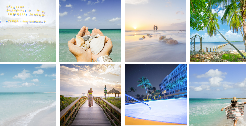 Eight images of beaches, palm trees, pool, etc.