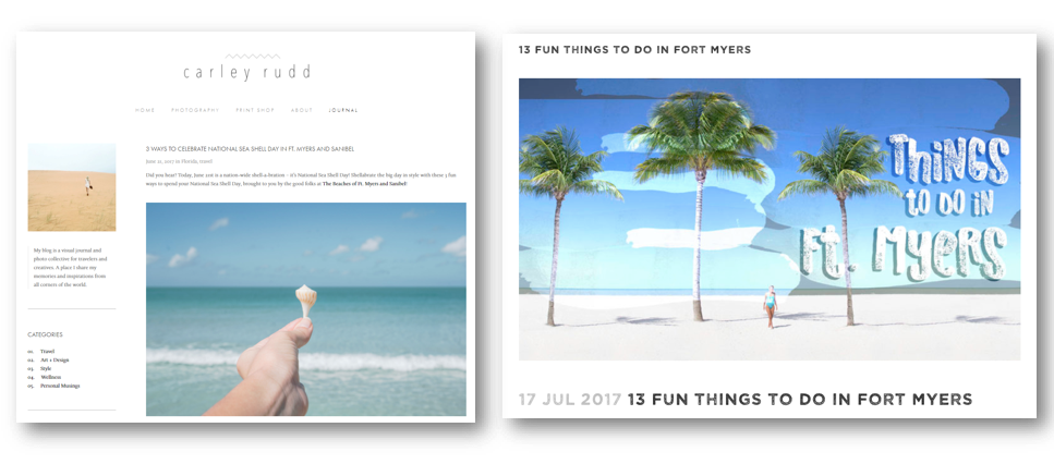 Two screen shots of blue ocean, hand holding a tiny shell and palm trees on a beach. Says
