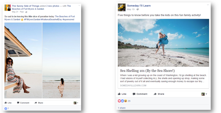 Two screen shots - brunette woman on the beach; girl looking for sea shells on the beach. Says