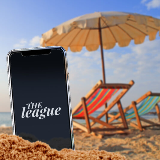 Smartphone on a beach.