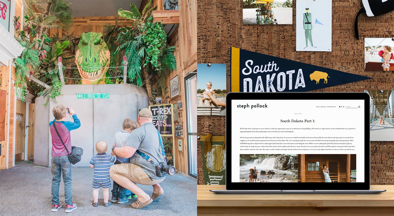 Family visiting South Dakota and computer screen with South Dakota article.