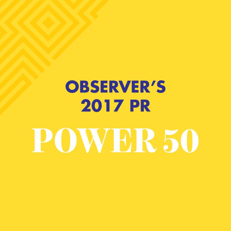 Observer's 2017 PR power 50.