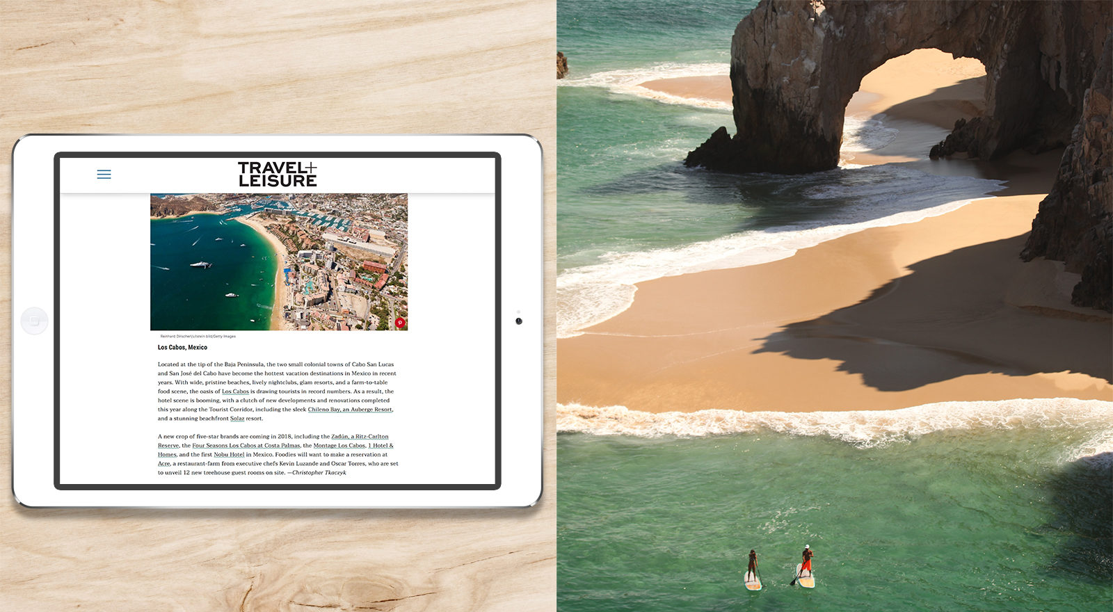 article mock up in ipad and beach photo