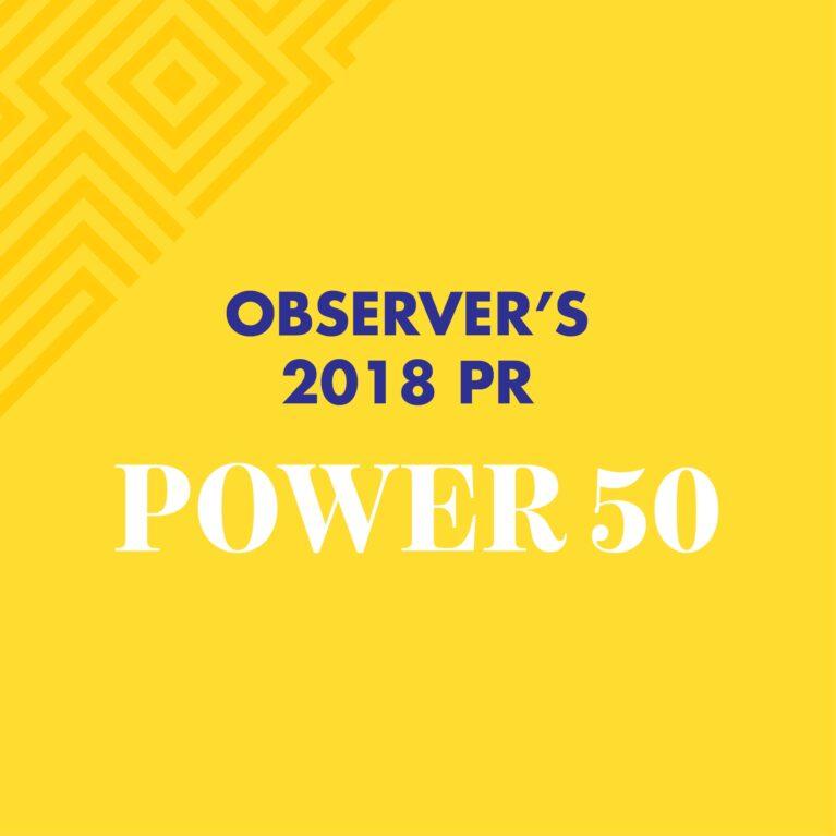 Observer's 2018 PR Power 50